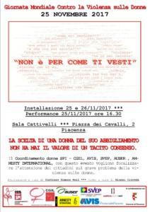 Giornata Mondiale Contro la Violenza sulle Donne @ Sala Cattivelli | Piacenza | Emilia-Romagna | Italia