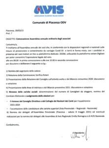 ASSEMBLEA 2021 @ Avis Comunale Piacenza | Piacenza | Emilia-Romagna | Italia